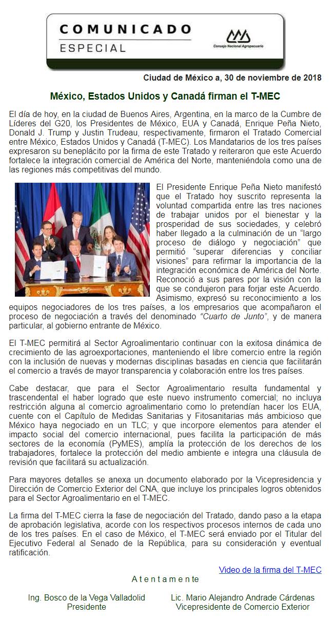 COMUNICADO ESPECIAL: MÉXICO, ESTADOS UNIDOS Y CANADÁ FIRMAN EL T-MEC