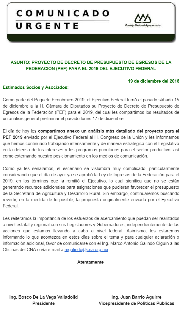 PROYECTO DE DECRETO DE PRESUPUESTO DE EGRESOS DE LA FEDERACIÓN (PEF) PARA EL 2019 DEL EJECUTIVO FEDE