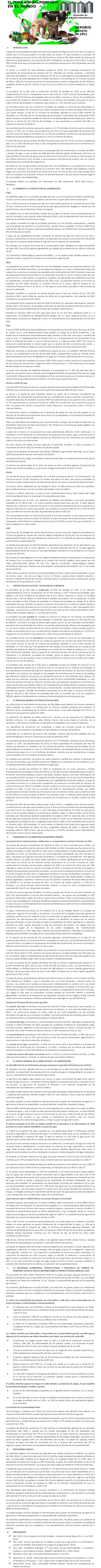 RV: REPORTE: EL TEMA AGROALIMENTARIO EN EL MUNDO, AGOSTO 2021.