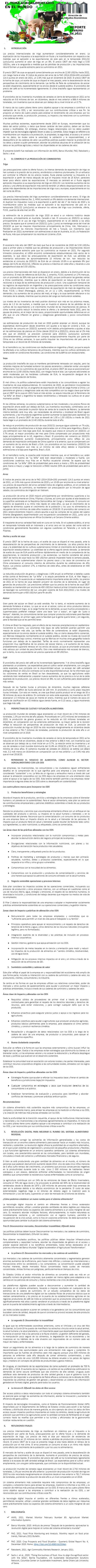 REPORTE: EL TEMA AGROALIMENTARIO EN EL MUNDO, FEBRERO 2021.