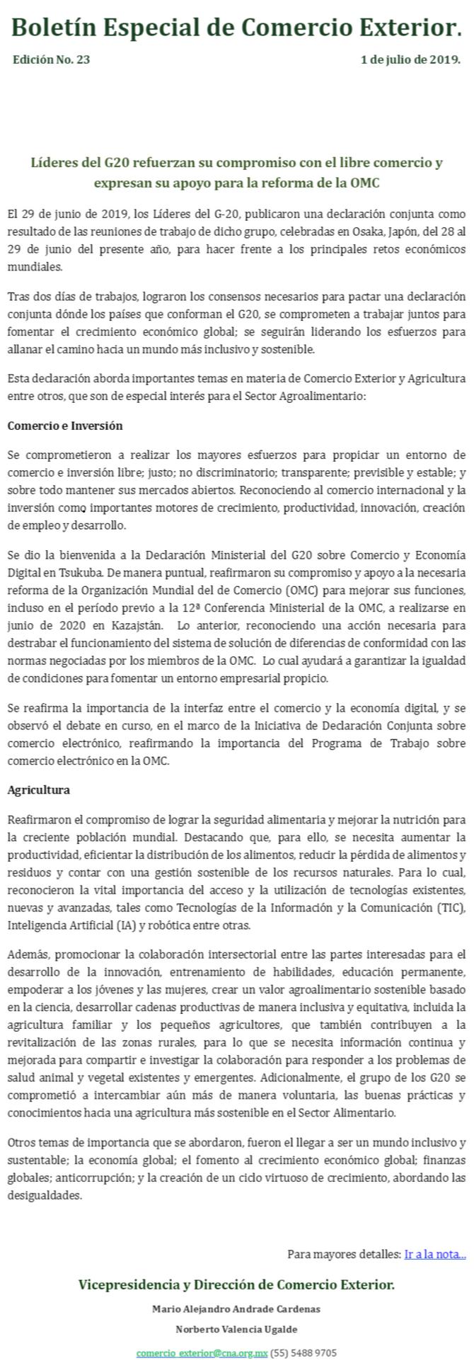 Boletín Especial de Comercio Exterior No.23, Líderes del G20 refuerzan su compromiso con el libre co
