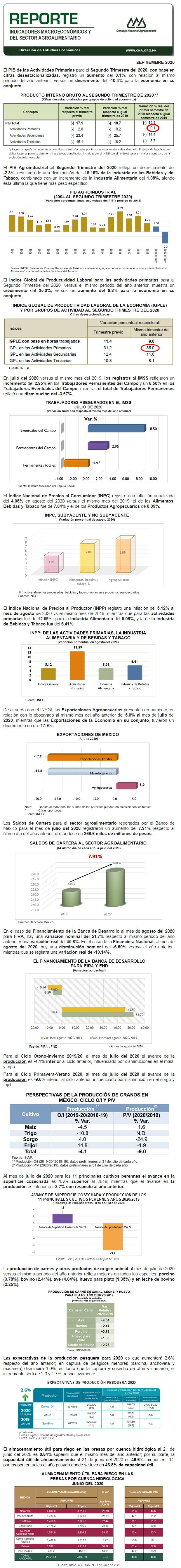 Reporte de Indicadores Macroeconómicos y Sectoriales del Sector, Septiembre 2020.