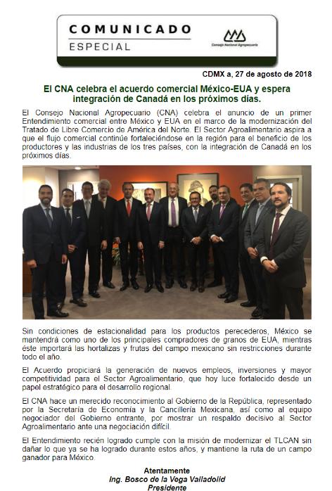 Comunicado Especial: CNA celebra el acuerdo comercial México-EUA y espera la integración de Canadá e