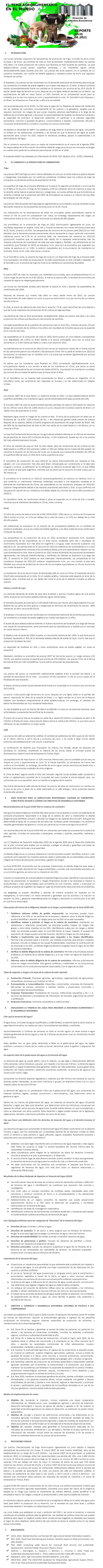 EL TEMA AGROALIMENTARIO EN EL MUNDO, JULIO 2021.