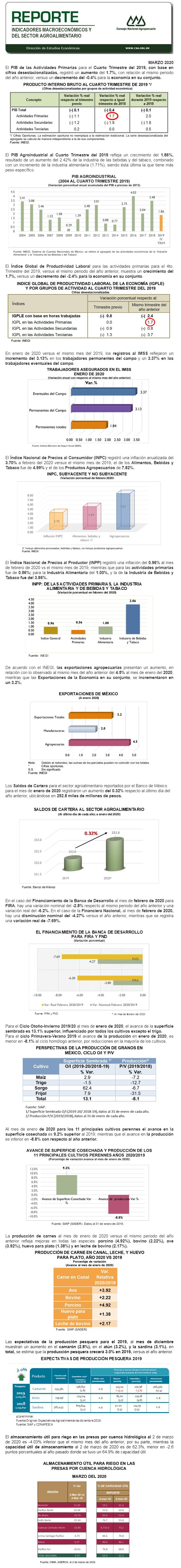 Reporte de Indicadores Macroeconómicos y Sectoriales del Sector Marzo 2020.