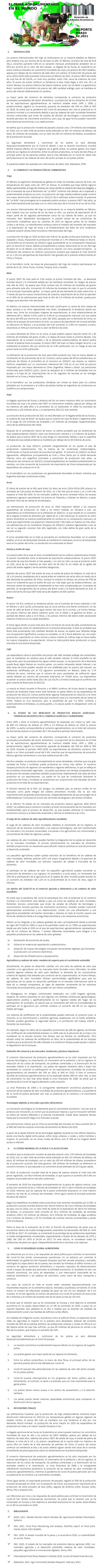REPORTE: EL TEMA AGROALIMENTARIO EN EL MUNDO, MARZO 2021