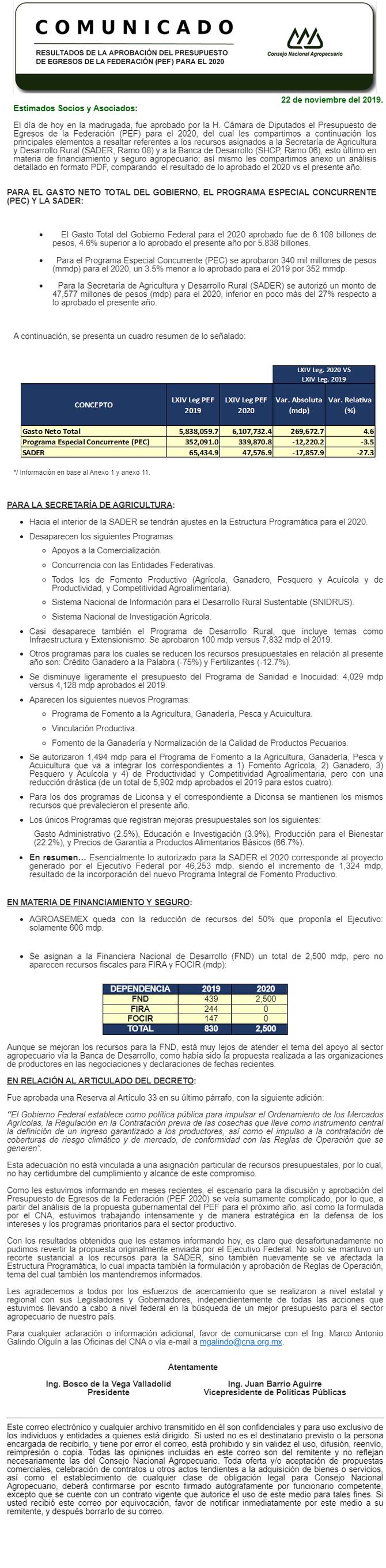 RESULTADOS DE LA APROBACIÓN DEL PRESUPUESTO DE EGRESOS DE LA FEDERACIÓN (PEF) PARA EL 2020