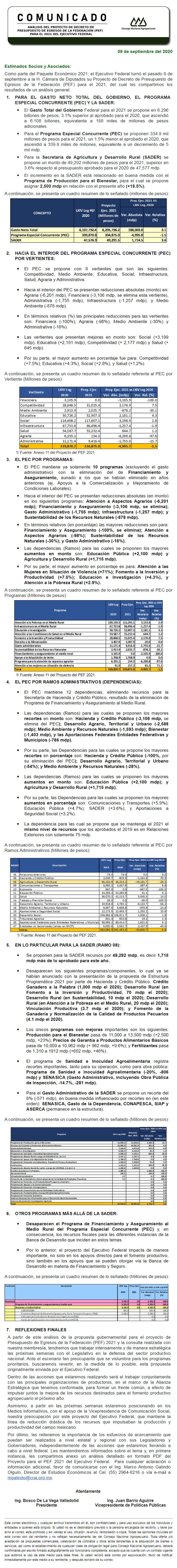 ANÁLISIS DEL PROYECTO DE DECRETO DE PRESUPUESTO DE EGRESOS DE LA FEDERACIÓN (PEF) PARA EL 2021