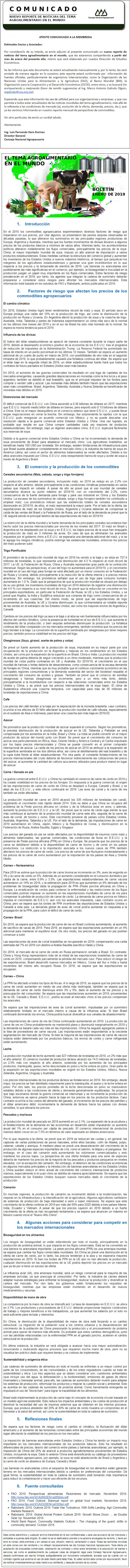NUEVO REPORTE MENSUAL: EL TEMA AGROALIMENTARIO EN EL MUNDO, ENERO DE 2019