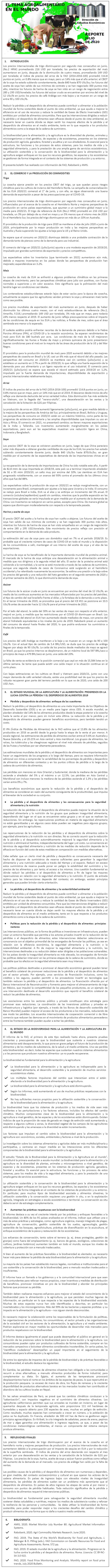 REPORTE: EL TEMA AGROALIMENTARIO EN EL MUNDO, JULIO 2020.