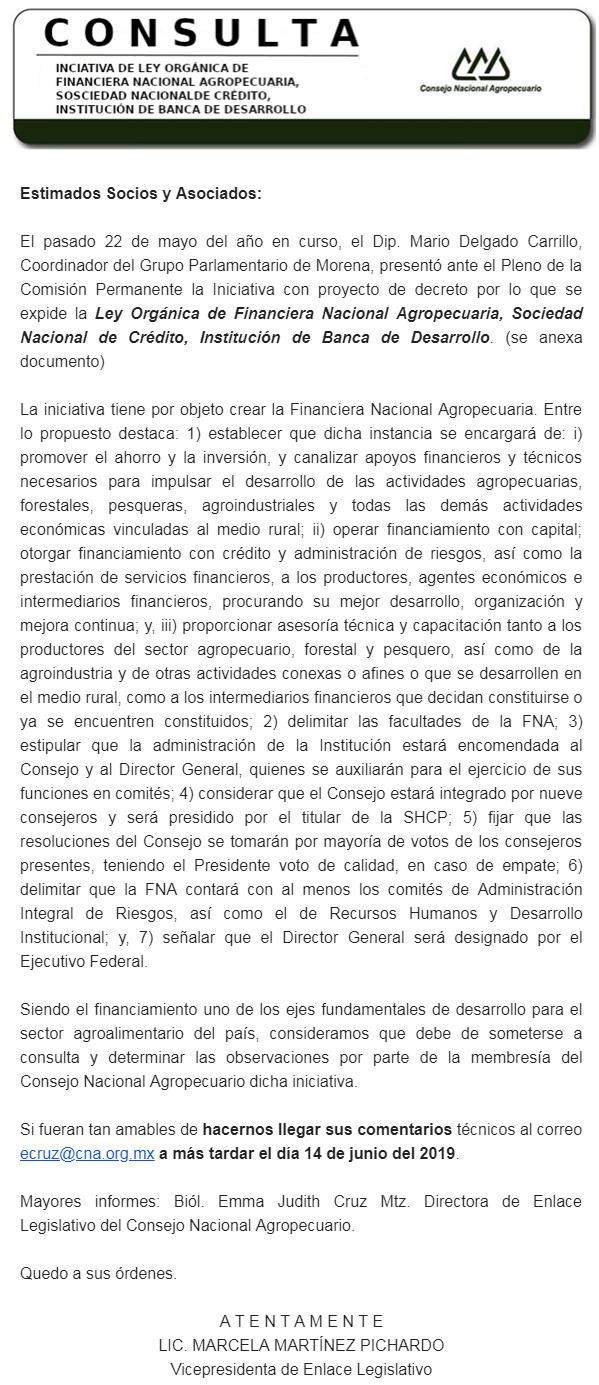 CONSULTA PARA ELABORACIÓN DE PROPUESTA INSTITUCIONAL PARA EL PEF 2020 PARA EL SECTOR AGROALIMENTARIO
