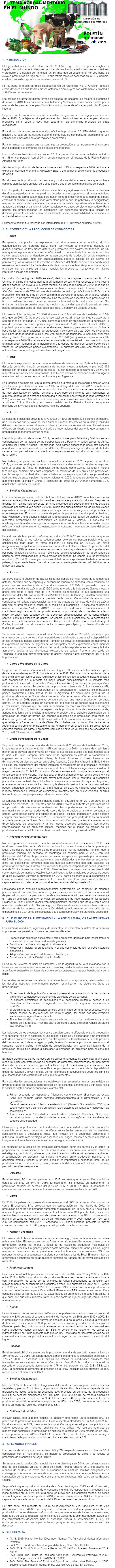 Boletín del Tema Agroalimentario en el Mundo.