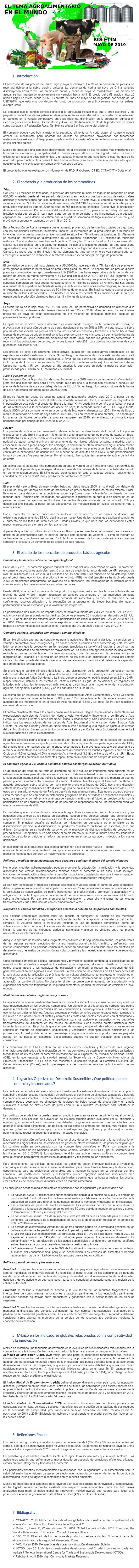 EL TEMA AGROALIMENTARIO EN EL MUNDO, MAYO DE 2019