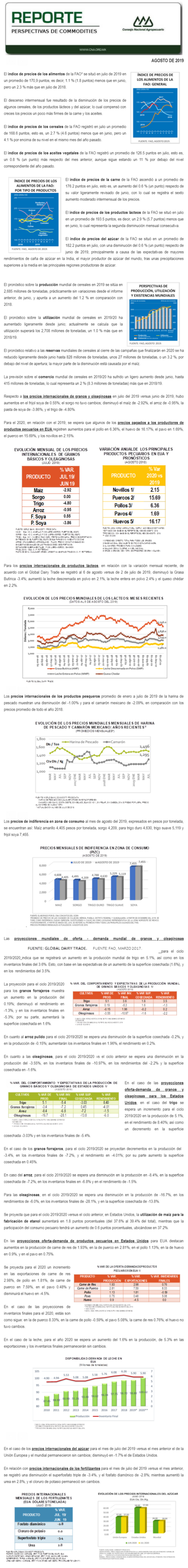 REPORTE DE PERSPECTIVAS DE COMMODITIES DEL MES DE AGOSTO DE 2019