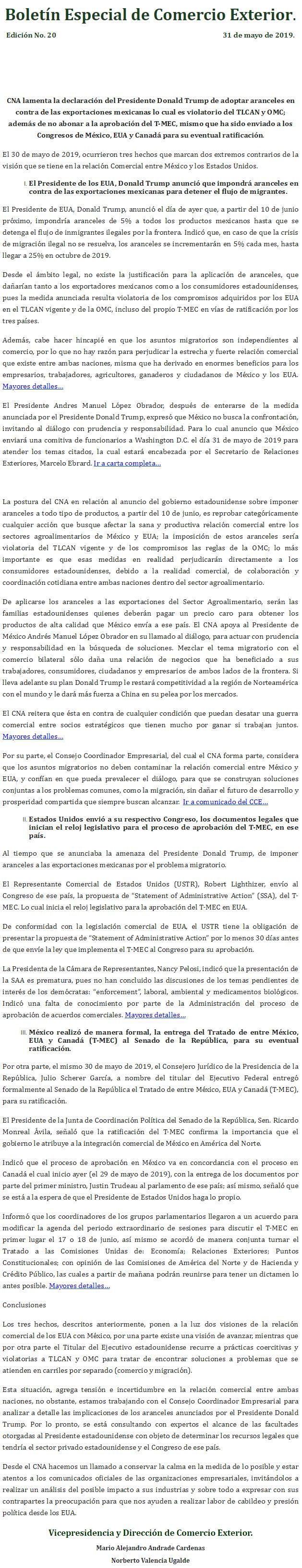 Boletín Especial de Comercio Exterior del CNA Ed. No. 20
