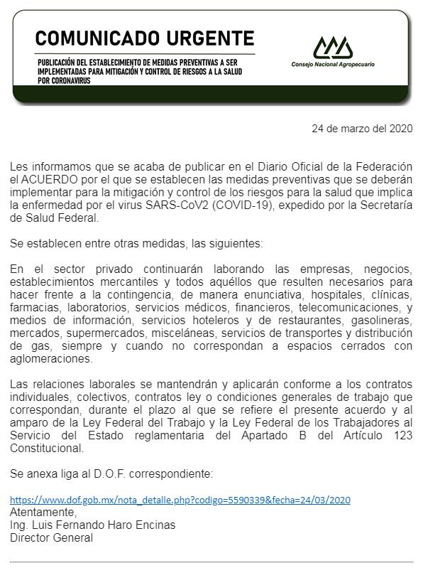 PUBLICACIÓN DEL ESTABLECIMIENTO DE MEDIDAS PREVENTIVAS A SER IMPLEMENTADAS PARA MITIGACIÓN Y CONTROL