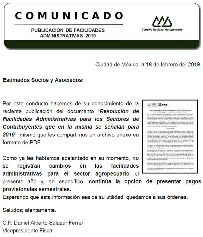 PUBLICACIÓN DE FACILIDADES ADMINISTRATIVAS 2019