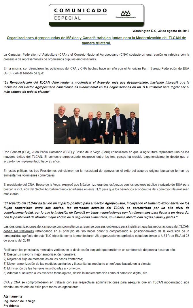 Comunicado Especial: Organizaciones Agropecuarias de México y Canadá trabajan juntas para la Moderni