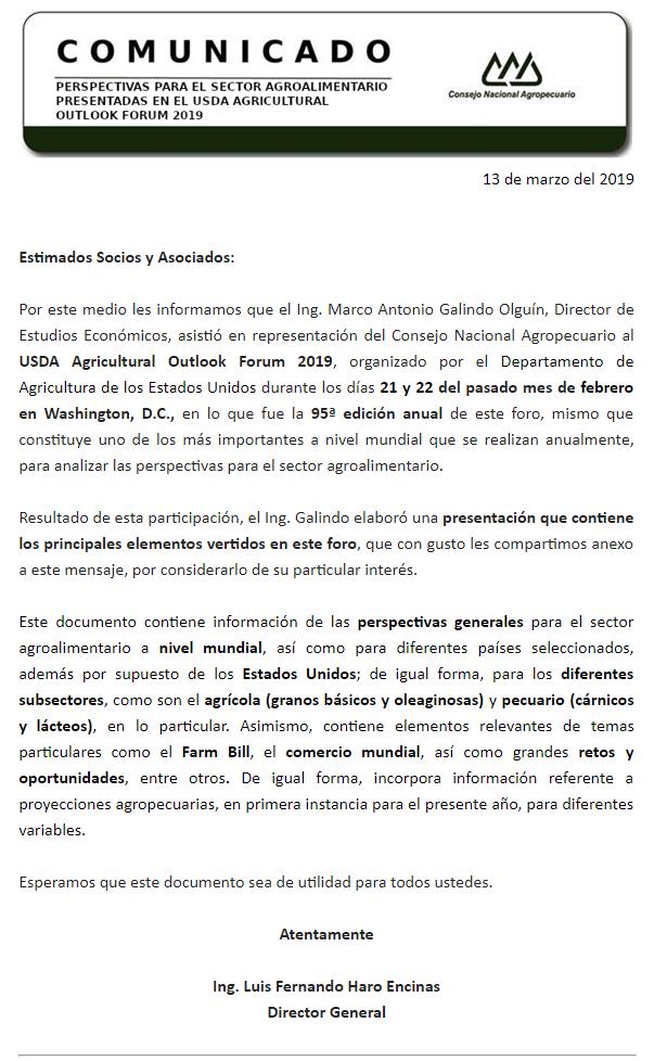 PERSPECTIVAS PARA EL SECTOR AGROALIMENTARIO PRESENTADAS EN EL USDA AGRICULTURAL OUTLOOK FORUM 2019