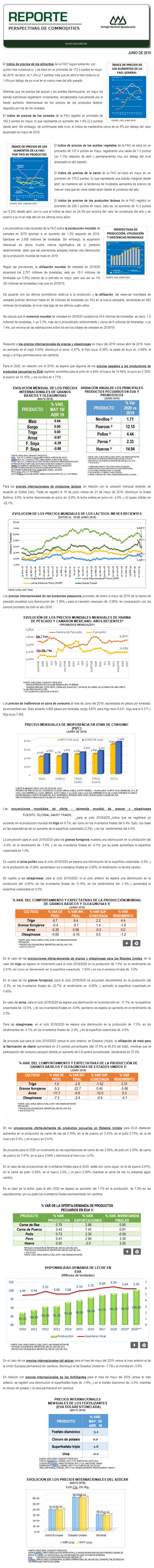 REPORTE DE PERSPECTIVAS DE COMMODITIES DE JUNIO DE 2019