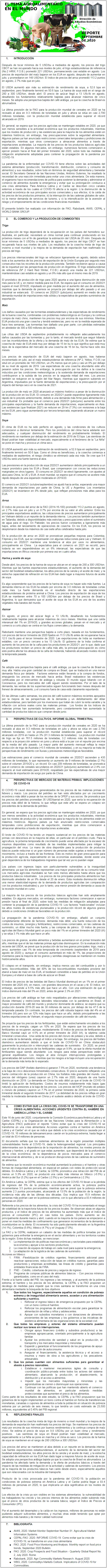REPORTE: EL TEMA AGROALIMENTARIO EN EL MUNDO, SEPTIEMBRE 2020.