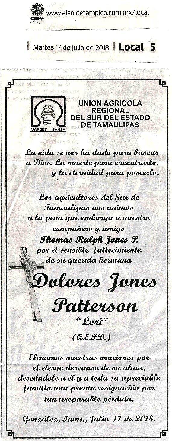 Nuestras mas sinceras condolencias para nuestro amigo y compañero Thomas R. Jones