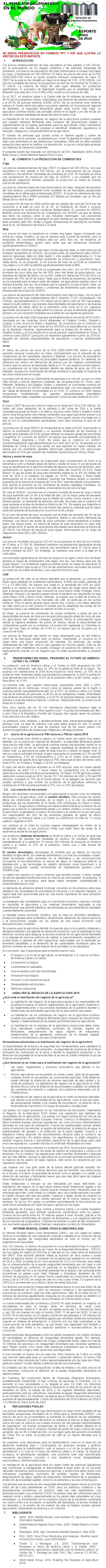 REPORTE: EL TEMA AGROALIMENTARIO EN EL MUNDO, JUNIO 2020.