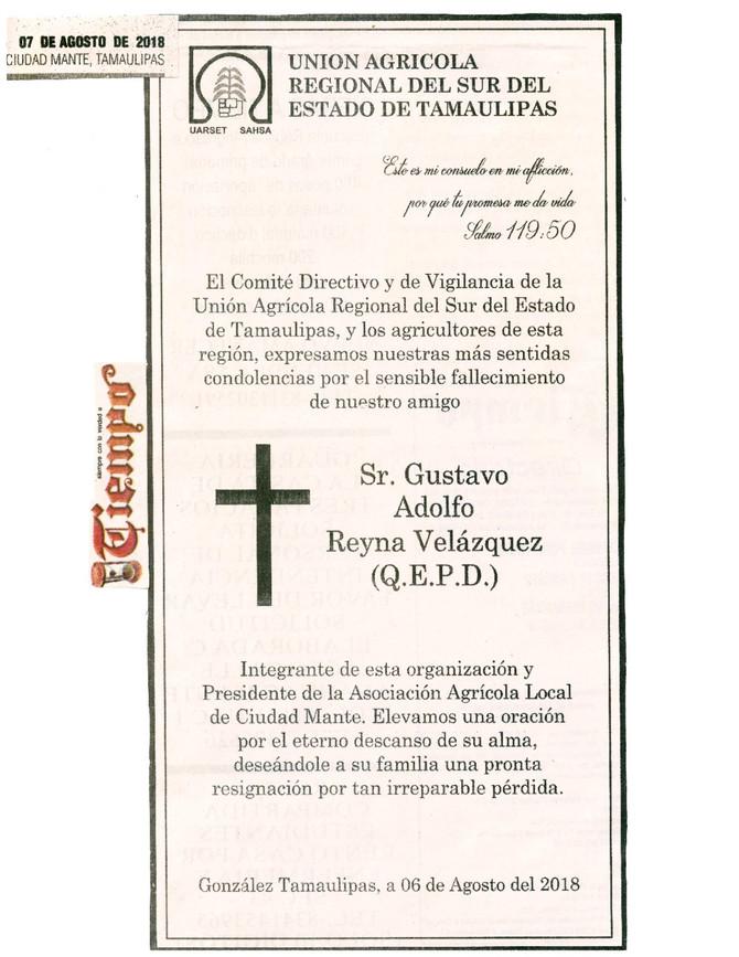 Nuestras mas sinceras condolencias a la familia del Sr. Gustavo Adolfo Reyna Velázquez
