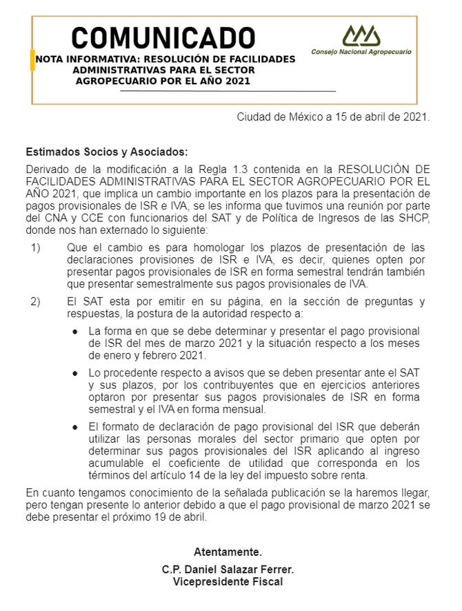 COMUNICADO NOTA INFORMATIVA: facilidades administrativas Sector Agropecuario 2021.