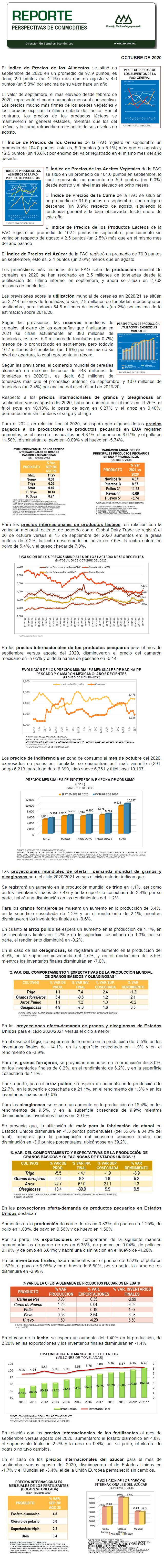 Reporte de Perspectivas Internacionales para los Commodities Agropecuarios de octubre 2020.