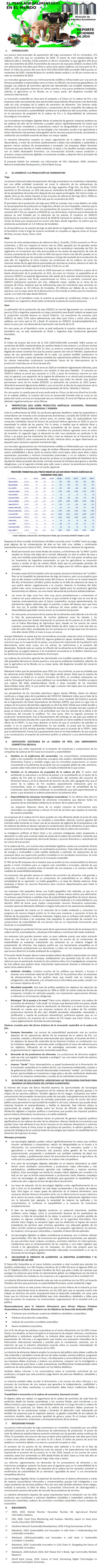 REPORTE: EL TEMA AGROALIMENTARIO EN EL MUNDO, DICIEMBRE 2020.