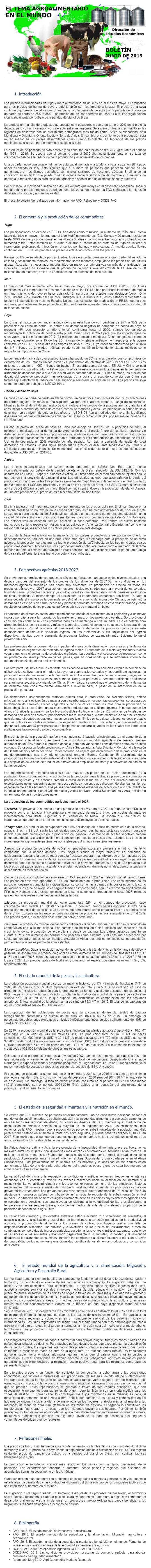 BOLETÍN: EL TEMA AGROALIMENTARIO EN EL MUNDO, JUNIO DE 2019