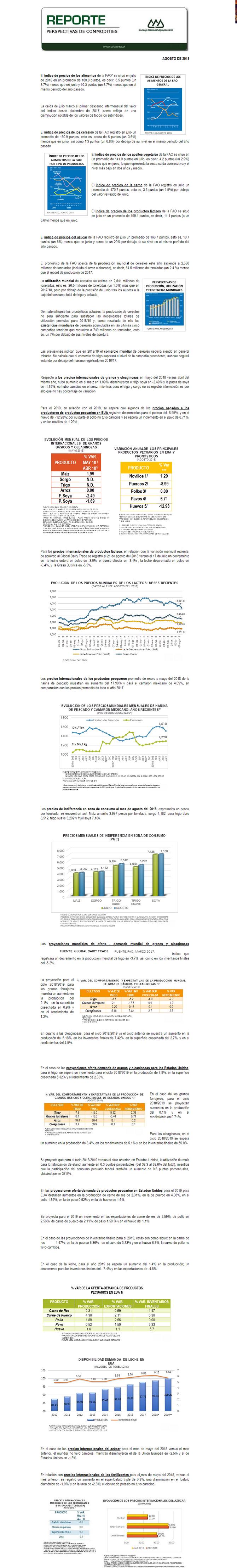 REPORTE DE PERSPECTIVAS DE COMMODITIES DEL MES DE AGOSTO DEL 2018
