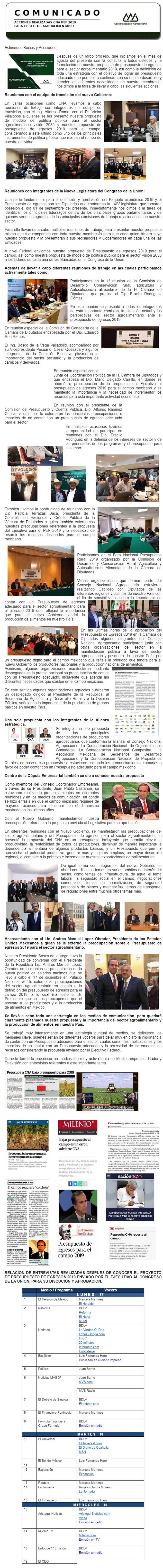 ACCIONES REALIZADAS CNA PEF 2019 PARA EL SECTOR AGROALIMENTARIO