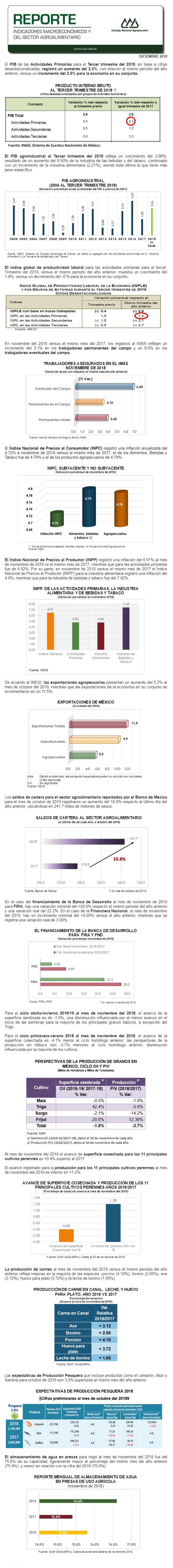 REPORTE DE INDICADORES MACROECONÓMICOS Y SECTORIALES DICIEMBRE 2018