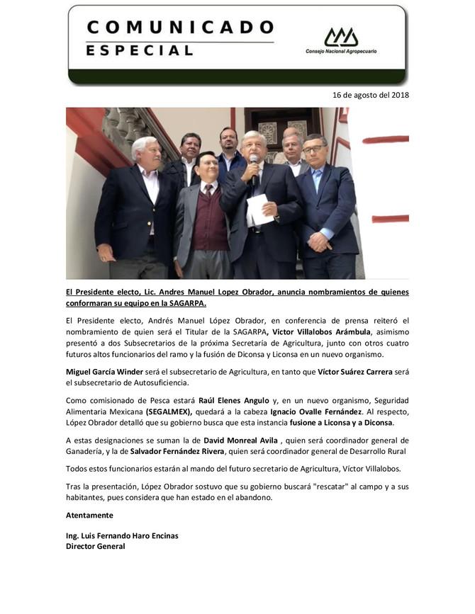 Nombramientos de AMLO quienes se integraran al Equipo de SAGARPA