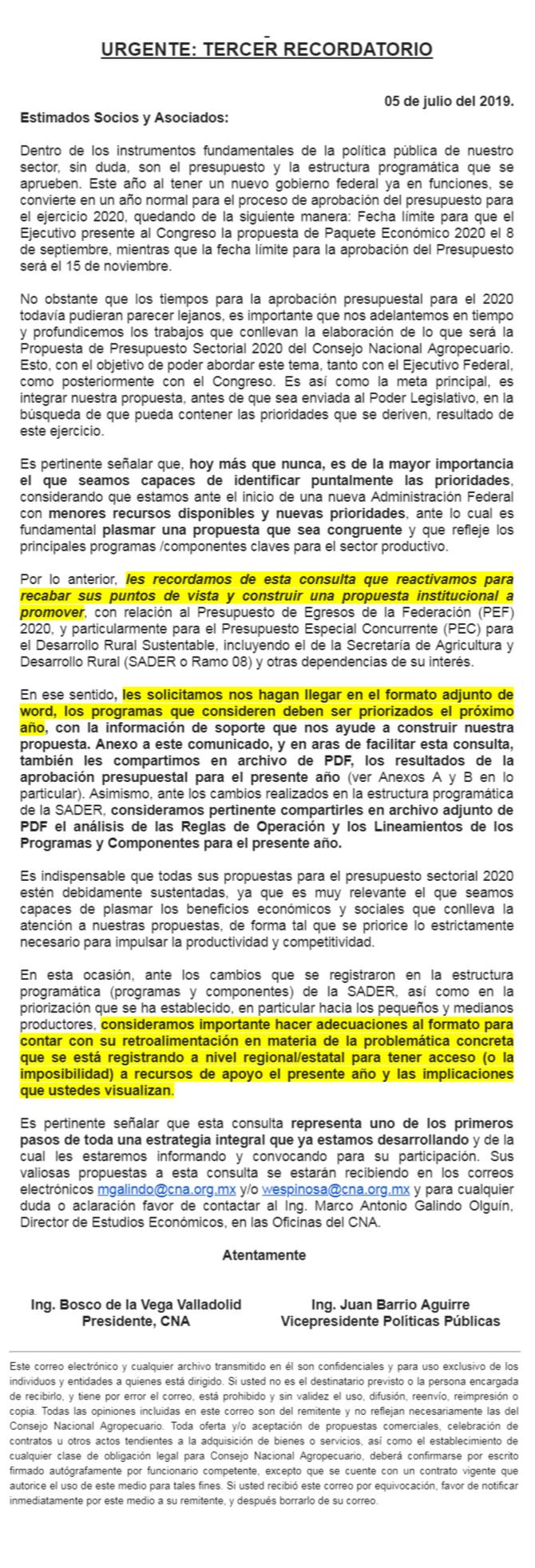 URGENTE: TERCER RECORDATORIO DE CONSULTA PARA ELABORACIÓN DE PROPUESTA INSTITUCIONAL PARA EL PEF 202