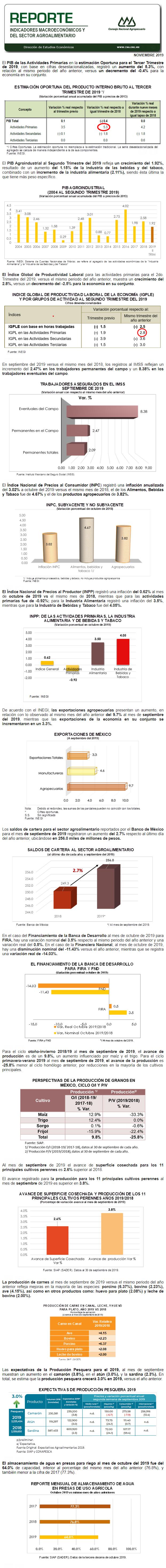 Reporte Indicadores Macroeconómicos y Sectoriales Noviembre 2019