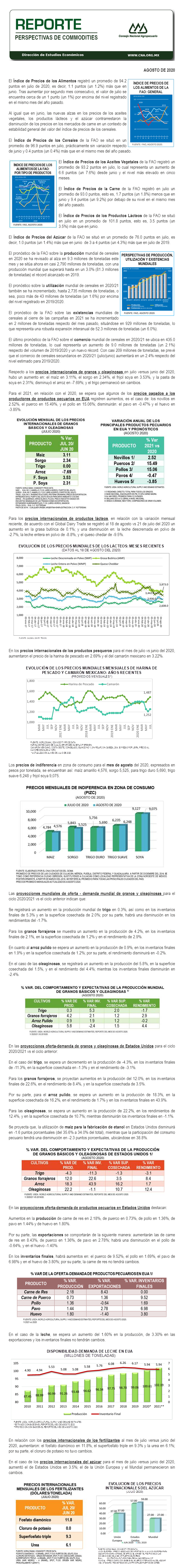 REPORTE DE PERSPECTIVAS DE COMMODITIES DE AGOSTO DE 2020.