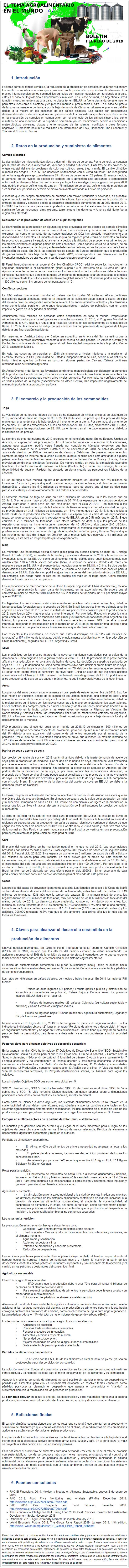BOLETÍN: EL TEMA AGROALIMENTARIO EN EL MUNDO, FEBRERO DE 2019