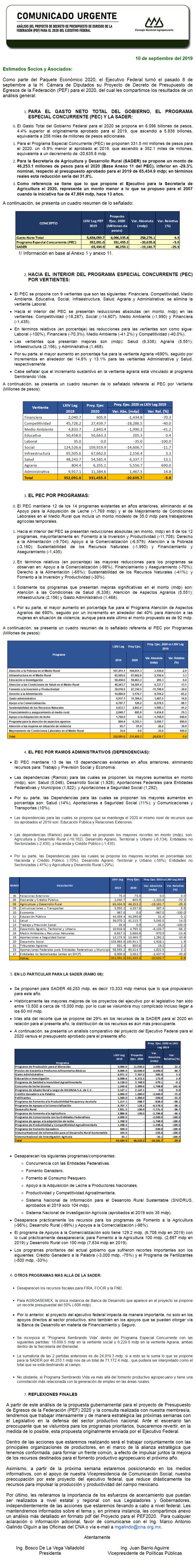 Análisis del Proyecto del Presupuesto de Egresos de la Federación (PEF) 2020 del Ejecutivo Federal