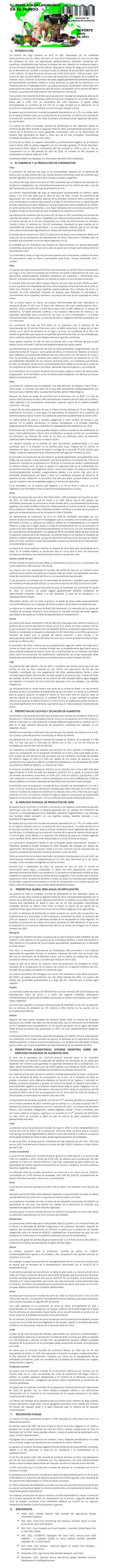 REPORTE: EL TEMA AGROALIMENTARIO EN EL MUNDO, MAYO 2021.