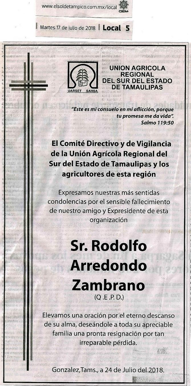 Lamentable partida de nuestro compañero Rodolfo Arredondo Zambrano