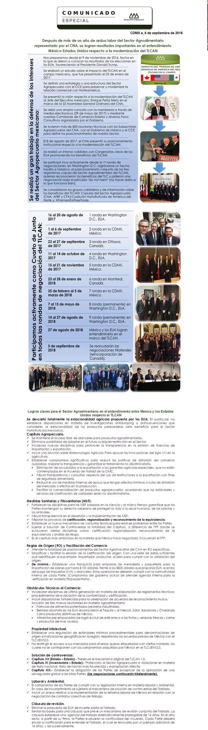 Comunicado Especial: Entendimiento México - Estados Unidos, TLCAN 2.0