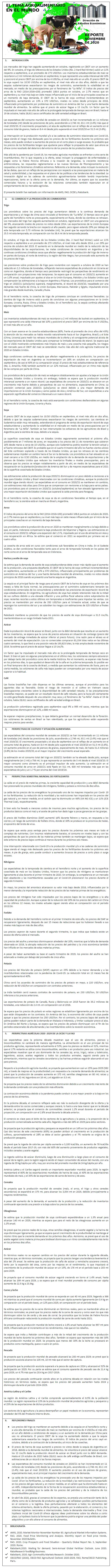 REPORTE: EL TEMA AGROALIMENTARIO EN EL MUNDO, NOVIEMBRE 2020.