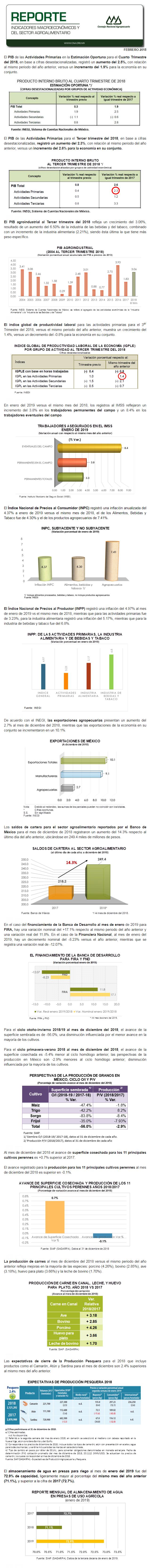 REPORTE DE INDICADORES MACROECONÓMICOS Y SECTORIALES DE FEBRERO DEL 2019
