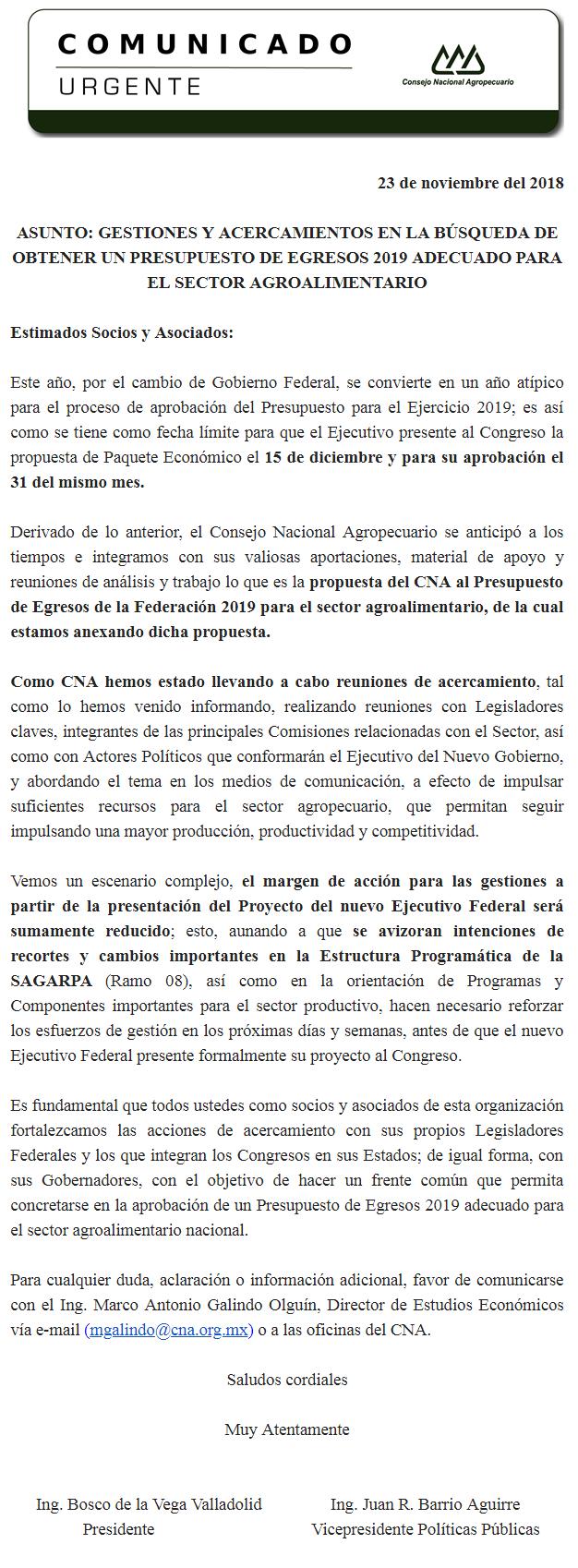 URGENTE: GESTIONES Y ACERCAMIENTOS EN LA BÚSQUEDA DE OBTENER UN PRESUPUESTO DE EGRESOS 2019 ADECUADO