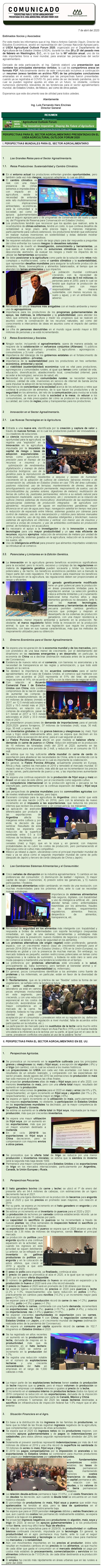 PERSPECTIVAS PARA EL SECTOR AGROALIMENTARIO PRESENTADAS EN EL USDA AGRICULTURAL OUTLOOK FORUM 2020.
