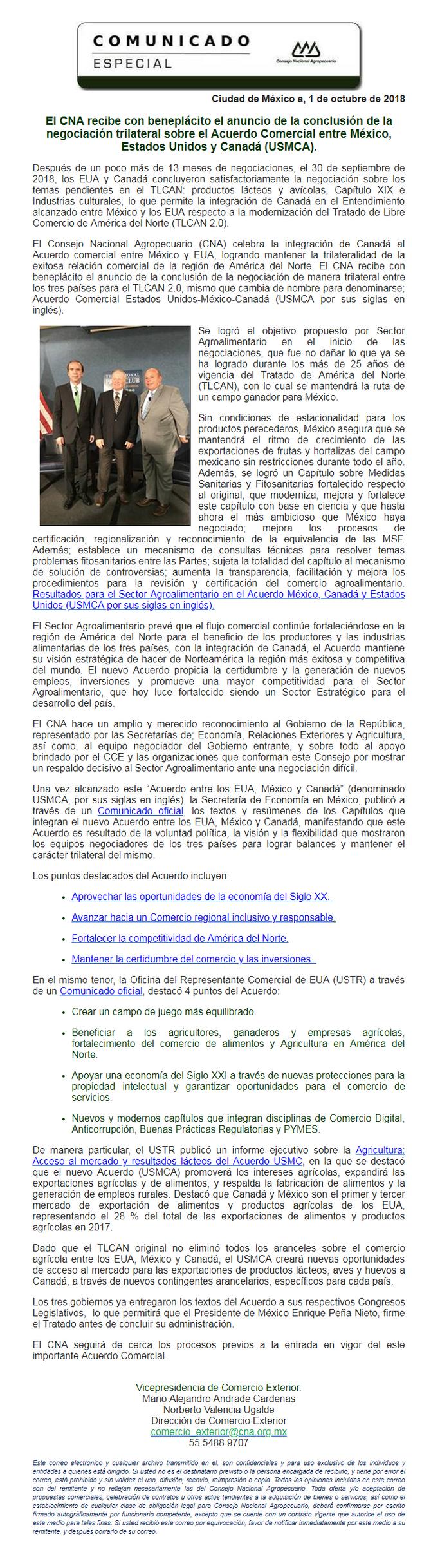 El CNA recibe con beneplácito el anuncio de la conclusión de la negociación trilateral sobre el USMC