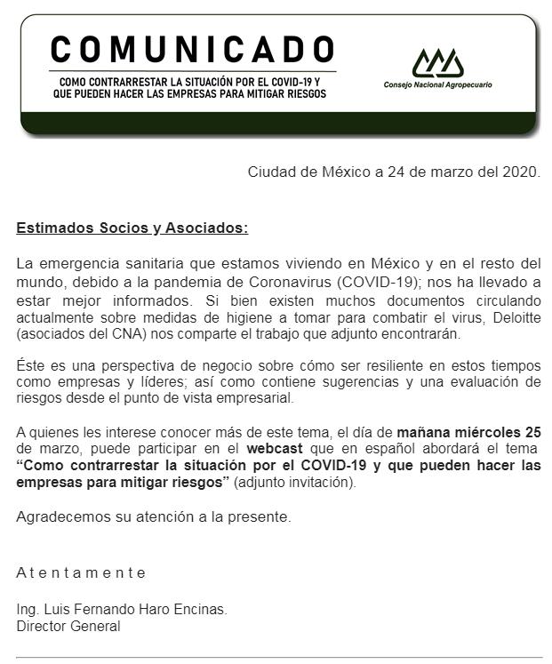 WEBCAST: COMO CONTRARRESTAR LA SITUACIÓN POR EL COVID-19 Y QUE PUEDEN HACER LAS EMPRESAS PARA MITIGA